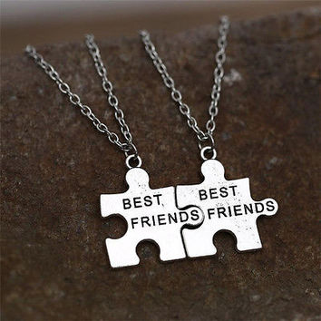 2X  Best Friends Pendant Necklaces Friendship Puzzle Letters Chain Necklaces HU