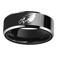 Philadelphia Eagles Stainless Steel Logo Titanium Black Mens Ring