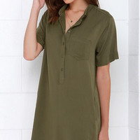 Reporting for Cutie Olive Green Shift Dress