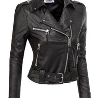 Doublju Motorcycle Jacket With Belt Strap BLACK (US-XL)