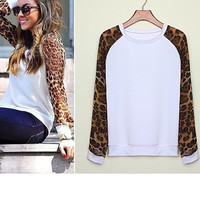 'The Kate' Leopard Chiffon Loose Casual Long Tops Blouse