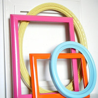 Bright Pink and Lemon Picture Frame Set Wood Photo Frames Girls Room Decor Home Decor Modern