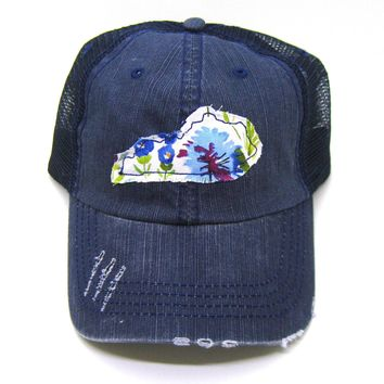 Kentucky Hat - Navy Blue Distressed Trucker Hat - Wildflower Applique - All States Available