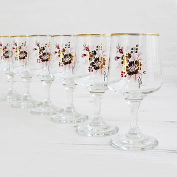 Vintage Drinking Glasses - Flower Rose Gold pink Large Glassware Kitchenware Barware Collection