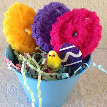 Easter Pot Scrubber Gift Set // Easter Bucket filled with 3 Double Layered Easter Egg Scrubbies, Decorative Egg, and Little Chenille Chick