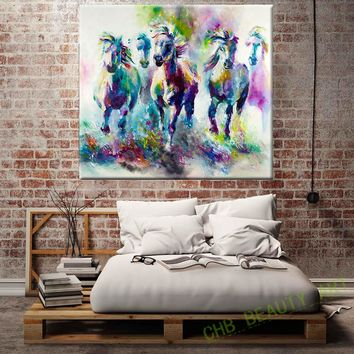 Kate Canvas Painting HD Printed On Canvas Art Animal Watercolor Running Horse Wall Pictures For Living Room Home Decor Unframed