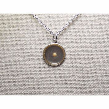 Mustard Seed of Faith...Antique Oxidized Sterling Silver Mustard Seed Round Necklace,