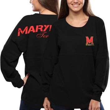 Maryland Terrapins Women's Pom Pom Jersey Long Sleeve Top – Black