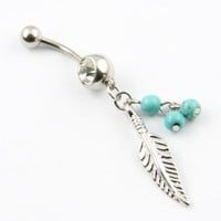 316L Surgical Steel 14 Guage Leaf Dangle With Blue Beads Navel Belly Button Ring Bar: Jewelry: Amazon.com