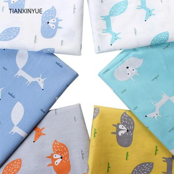 TIANXINYUE Cartoon Fox meter fabric Twill Cotton Fabric for Patchwork Quilting Baby Bedding Sewing Cloth Material
