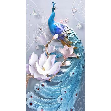 5D Diamond Painting Baby Blue Peacock Kit