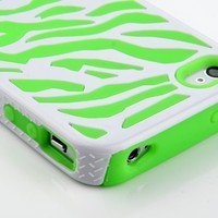 Pandamimi Green White Zebra Combo Hard Soft High Impact Armor Skin Gel Case for iPhone 4/4S/4G:Amazon:Cell Phones & Accessories