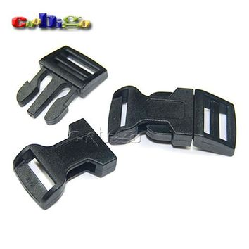 "10pcs Pack 5/8"" (15mm) Curved Side Release Buckles Black Plastic Hardware Paracord Bracelets Dog Collar Bag Parts #FLC009-B"
