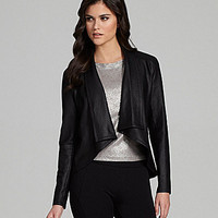 Gianni Bini Eynat Drape-Front Faux-Leather Jacket | Dillards.com