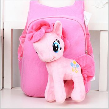 Lovely Cute Baby Kid Schoolbag Cartoon My Little Pony School bag Children Zipper Bag Light weght Bag Durable Bag