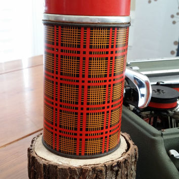 Vintage Plaid Aladdin Best Buy 10oz Hot Cold Thermos Great for Coffee at the Office A Picnic Decor Guy Gift