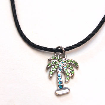Rhinestone Palm Tree Choker Necklace