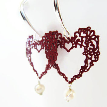 Valentines Day Earrings Red Filigree Heart Pearl Dangle