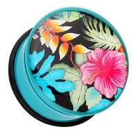 Hawaii Luau Flower Single Flared Ear Gauge Plug