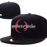 YUDUODUO A Perfect Circle Band Logo Adjustable Snapback Embroidery Hats Caps - Black