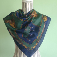 Vintage Equestrian Scarf, Royal Blue Neckerchief, Green Gold Pure Silk Scarf, Navy Light Scarf, Horse Print Silk Headscarf, Horse Track