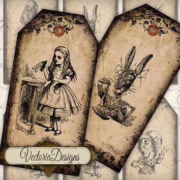 INSTANT DOWNLOAD Alice in Wonderland tags instant download printable gift tags digital Collage Sheet 186