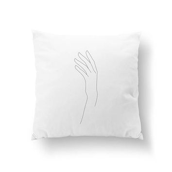 Female Hand Pillow, Cushion Cover, Female Body Pillow, Minimalist Woman, Throw Pillow, Black And White, Single Line, Bed Pillow, Home Decor