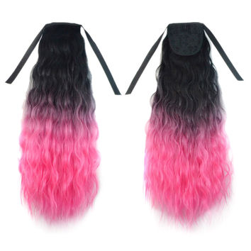 Wig Horsetail Gradient Ramp Corn Hot     black rouge pink 1BT2311#
