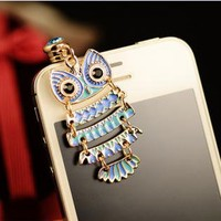 Colorful Owl Pendant Plugy for iPhone AJS213