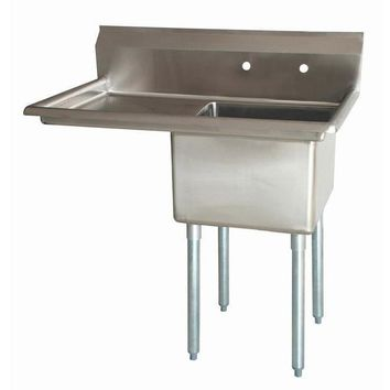 "Stainless Steel 1 Compartment Sink 38.5"" x 27"" with 18"" Left Drainboard"