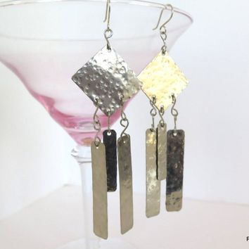 Geometric Fringe Earrings, Boho Chic Long Earrings