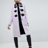 ASOS Slim Coat with Contrast Frogging at asos.com