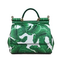 DOLCE & GABBANA Miss Sicily Palm Leaf Green White Dauphine Leather Medium Bag Handbag Purse Tote