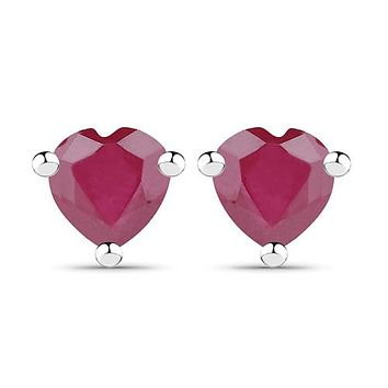 Natural 14K White Gold 1.40TCW Heart Cut Red Ruby Stud Earrings
