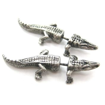Fake Gauge Earrings: Alligator Crocodile Animal Shaped Stud Plug Earrings in Silver