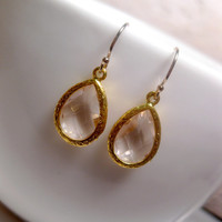Crystal Clear Glass Earrings Gold Framed With 14k GF