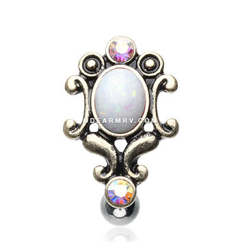 Vintage Victorian Opal Hinged Reverse Belly Button Ring (White)