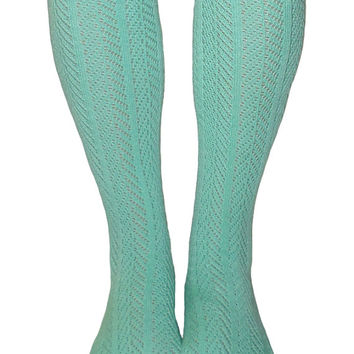 Women's Mint Chevron Pattern Button Lace Boot Socks, Crochet Lace Button Boot Socks, gift