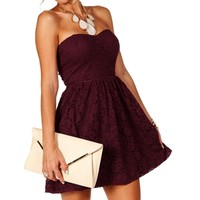 Wine Strapless Lace Dress