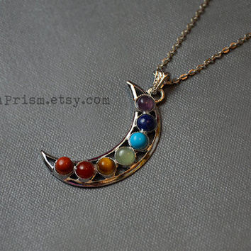 Crescent Moon Seven Chakra Stone Pendant Necklace or Choker | Chakra Moon Necklace | Stone Pendant | Chakra Necklace | Moon Necklace