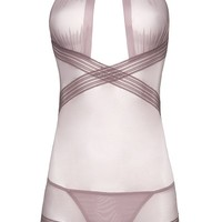 Sexy Collared Babydoll with Elastic Detail and G-String
