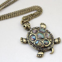 fashion jewelry items vintage metal tortoise turtle pendant necklace