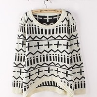 White Geometric All-match Bottoming Loose Sweater