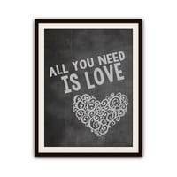 The Beatles Music All You Need is Love Typography Poster