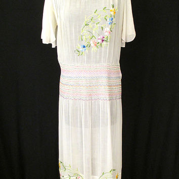 Incredible 1920's Hand Embroidered Hungarian Peasant Youth Wedding Dress with Hand Smocking Folk Dress German Peasant Dress Size-Large