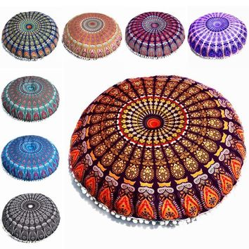 cushion covers for sofa flower Large Mandala Floor Pillows Round Bohemian Meditation Cushion Cover Ottoman Pouf #35