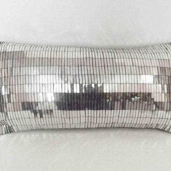 silver sequins glitzy cushion in size 10x20 inches available with the filler