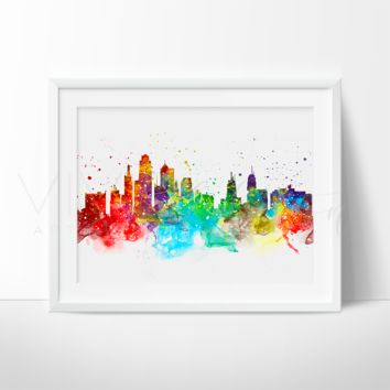 Kasas City Skyline Watercolor Art Print