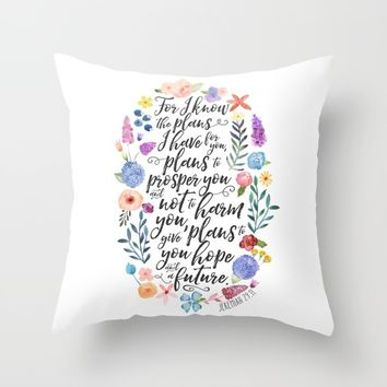 Hope and a Future - Jeremiah 29:11 Throw Pillow by Noonday Design