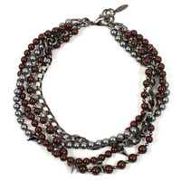 Vicious Love Crystal, Pyramid & Multi-Strand Pearl Necklace - Maroon / Ruthenium